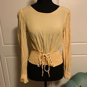 YELLOW STRIPPED LACE UP TOP